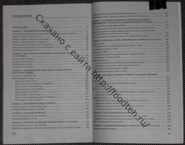 Содержание книги Сборник рецептур мясных изделий и колбас